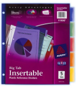 Avery 11900 5 Count Assorted Colours Big Tab Insertable Plastic Reference Divider