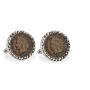 UPM Global LLC 12710 1800s Indian Head Penny Silvertone Rope Bezel Cuff Links
