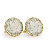UPM Global LLC 12724 1883 First-Year-of-Issue Liberty Nickel Goldtone Rope Bezel Cuff Links
