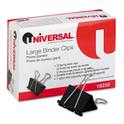 Universal Office Products 10220 Large Binder Clips Steel Wire 1 Capacity 2 Wide Black/Silver Dozen