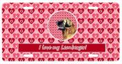 Carolines Treasures LH9168LP 30cm x 15cm . Leonberger Valentines Love and Hearts Licence Plate