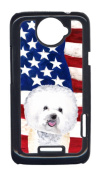 Carolines Treasures SC9014HTCONE USA American Flag With Bichon Frise HTC One X Cell Phone Cover