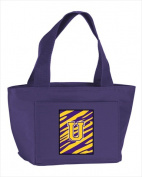 Carolines Treasures CJ1022-U-PR-8808 Monogram Letter U - Tiger Stripe Purple Insulated Cooler Lunch Bag