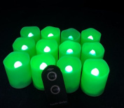 Candle Choice D38R-P1519M-G-12 Green Plastic Cover Simple Remote Control LED Amber-Colour Votive Candle Light