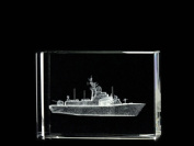 Asfour Crystal 1162-70-30 2.75 L x 2 H x 1 W in. Crystal Laser-Engraved Battleship Military Laser-Cut