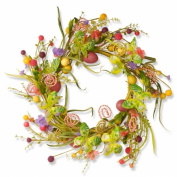 National Tree GAE30-24WEM 60cm . Easter Wreath With Candy Eggs & Butterflies-Multi Colour