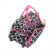 All-Seasons 8130622021T-F 50cm . Vacation Deluxe Carry-On Rolling Duffel Bag Pink Giraffe
