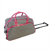 All-Seasons 816062202IT-F 50cm . Vacation Deluxe Carry-On Rolling Duffel Bag Pink Houndstooth