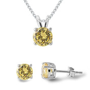 Simulated Yellow Topaz Sterling Silver Necklace & Earrings Set