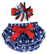 Stephan Baby Stars and Stripes Ruffled Nappy Cover and Curly Bow Headband, 12-18 Months