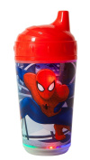 Marvel Spiderman Double Wall Led Light Up Sip Cup, Red