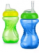 Nuby No-Spill Clik-It Flex Straw Cup, 12 Months Plus, Green/Blue