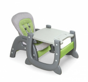 Badger Basket Envee II Baby High Chair with Play Table Conversion, Grey/Green