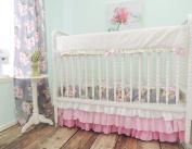 Tushies and Tantrums Bumperless Cribset, Herringbone Rail Guardm, Grey/Pink/Green/Gold