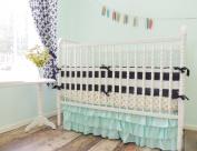 Tushies and Tantrums Boutique Crib Set, Navy Blue/Gold/Aqua