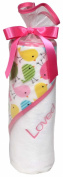 Raindrops Loved Hooded Towel Set, Cotton Candy Birds/Bright Pink