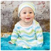 Woombie Indian Cotton Gowns Plus Hat, Aqua/Lime Chevron, 11-14kg