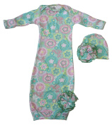 Woombie Indian Cotton Gowns Plus Hat, Spring Fling, 3.2-6.8kg