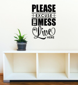 Wall Decor Plus More WDPM3323 Please Excuse the Mess We Live Here Home Decor Wall Decal Sticker for Parents and Kids, 60cm x 41cm , Black