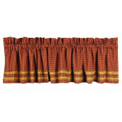 Home Collection by Raghu Newbury Gingham Red with Oat Trim Barn Red and Oat Valance, 180cm by 39cm