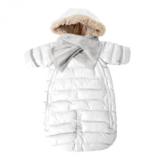 7AM Enfant Doudoune One Piece Infant Snowsuit Bunting, White, Small
