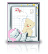 Silver Touch USA Sterling Silver Picture Frame Featuring Sleeping Teddybear, Pink