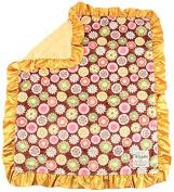 My Blankee Posy Party Minky Velour Brown with Dot Velour Mango and Mango Ruffle Satin Border, Baby Blanket 80cm X 90cm
