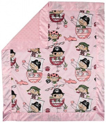 My Blankee Pirates Minky Velour Pink with Minky Dot Velour Pink and Pink Flat Satin Border, Baby Blanket 80cm x 90cm