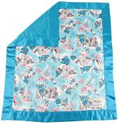 My Blankee Paris Minky Velour and Turquoise Minky Dot Velour and Flat Satin Border, Baby Blanket 80cm X 90cm