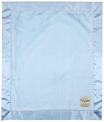 My Blankee Luxe Blue with Blue Flat Satin Border, Baby Blanket 80cm x 90cm