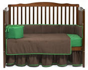 Baby Doll Solid Reversible Crib Bedding Set, Brown/Green