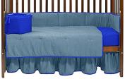 Baby Doll Solid Reversible Crib Bedding Set, Light Blue/Royal Blue