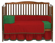 Baby Doll Bedding Solid Reversible Crib Bedding Set, Red/Green