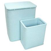RedmonUSA Redmon for Kids Chelsea Wicker Nursery Hamper and Matching Wastebasket, Sky Blue