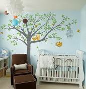 Pop Decors Vinyl Art Wall Decals Mural for Nursery Room, Nursery Tree with Cute Owl's Removable Grey
