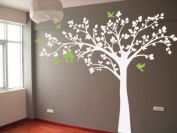 Pop Decors Removable Vinyl Art Wall Decals Mural for Nursery Room, Big Tree with Love Birds White Tree
