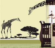 Pop Decors Removable Vinyl Art Wall Decals Mural for Nursery Room, Little Giraffe and His Mother