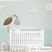 My Wonderful Walls Baby Nursery Wall Decor Standing Stork Decals and Cloud Wall Stickers, Chestnut