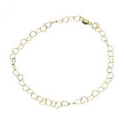 18k Gold-Flashed Sterling Silver Heart Link Chain Bracelet Italy, 19cm