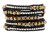 Long Stackable Dyed Brown Freshwater Cultured Pearl Silver Tone Alloy Beaded Wrap Bracelet, 100cm