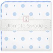 SwaddleDesigns Ultimate Receiving Blanket, Big Dot Little Dot, Blue