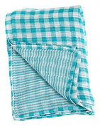Lulujo Baby Reversible Muslin Cotton Swaddles Blanket, Aqua, 120cm x 120cm