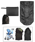 JAVOedge Black Folding Storage Stroller Bag, Stores down to a Wallet Size with Bonus Drawstring Bag