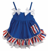 Stephan Baby Stars and Stripes Collection Ruffled Swing Top and Nappy Cover, 6-12 Months