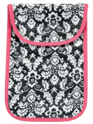 AM PM Kids! Nappy Clutch, Damask with Hot Pink