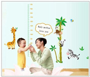 Removable Cartoon Monkey & Panda Animal Growth Chart Nursery Wall Decal Sticker Mural Decor for Baby