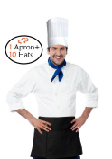 Tiger Chef Hat and Apron - 3 Pocket Waist Apron with Pockets and 10 Disposable 23cm Paper Chef Hats Commercial Restaurant Home