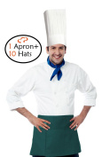 Tiger Chef Hat and Apron - 3 Pocket Waist Apron with Pockets and 10 Disposable 30cm Paper Chef Hats Commercial Restaurant Home