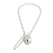 Sterling Silver Belcher Padlock Bracelet