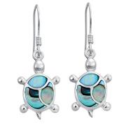 Sterling Silver Paua Turtle Earrings